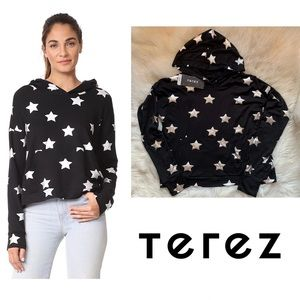 New! TEREZ Silver Star Foil Scoop Back Hoodie